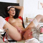 Young nurse drills her rear with a ebony dong