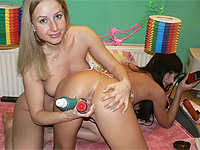 Two nice teens wank with toys